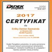 EnSky - Certyfikat, Certyfikat - Dudek Paragliders
