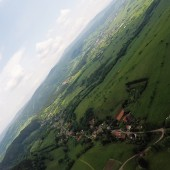 Grzmiąca Paraglideing Fly, Dolina Grzmiącej z widokiem na Głuszycę.